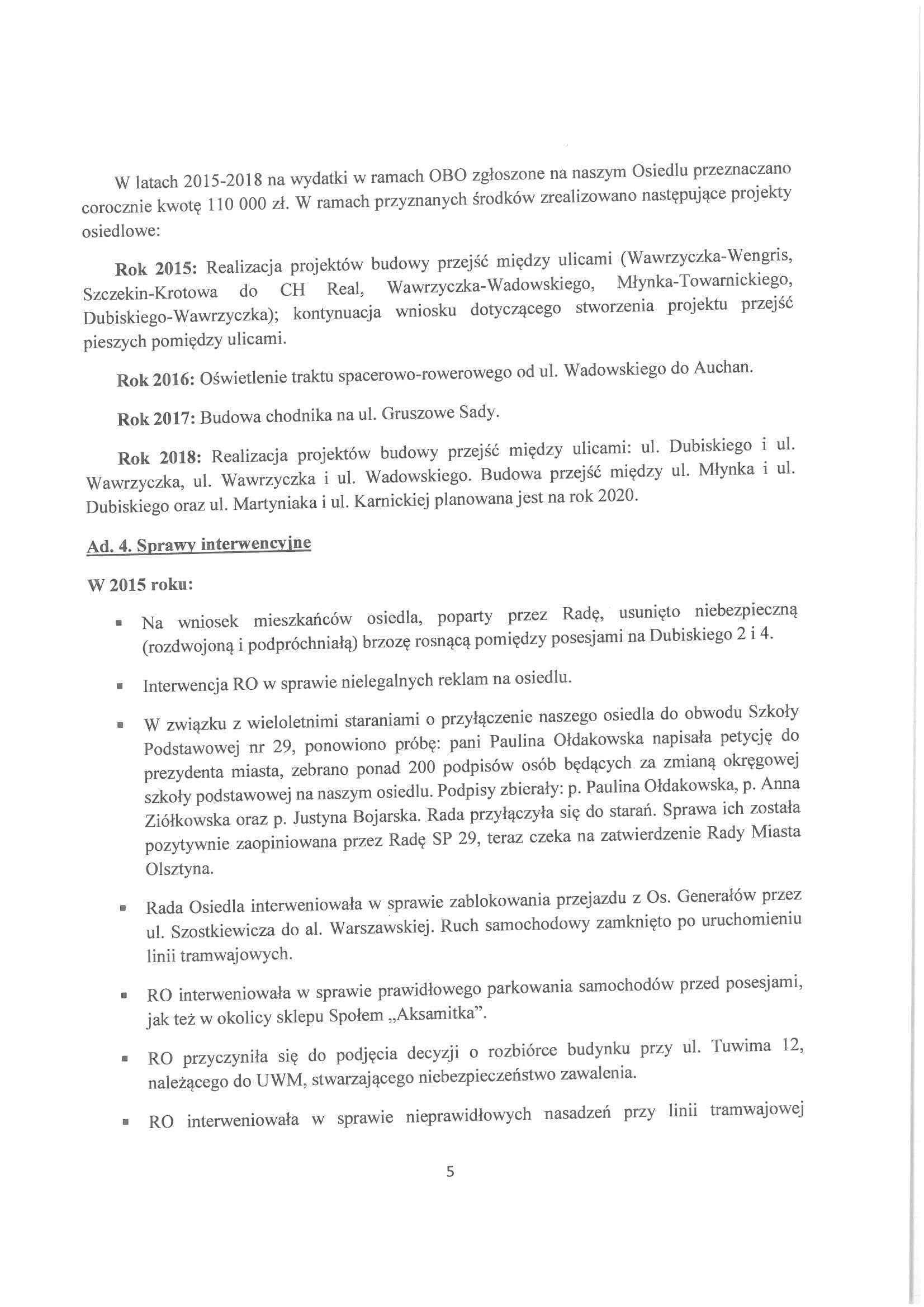 Sprawozdanie z działalności RO w latach 2015-2019-05